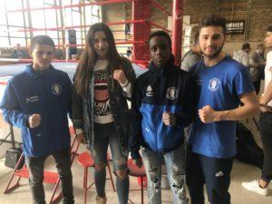 Foto Dortmund Körne v.l. Altin Murati, Boxweltmeisterin Christina Hammer, Ezequiel Augusto und Rezgar Shamo